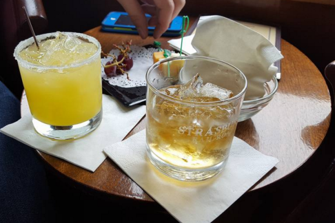 A shot from our May visit to the Strasburg Railroad, aboard the parlor car. Pictured: the remnants of a Fuzzy Navel, Jack Daniels on the rocks, and a cheese & fruit plate.