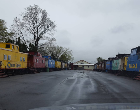 """The """"rooms"""" of the Red Caboose Motel."""