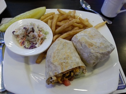 A wrap from Melody's with grilled chicken, bacon, and ranch dressing.