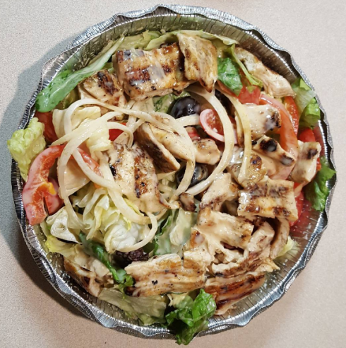 I apparently do not have any pizza pics from these three places in my massive collection. So here's one of a grilled chicken salad.